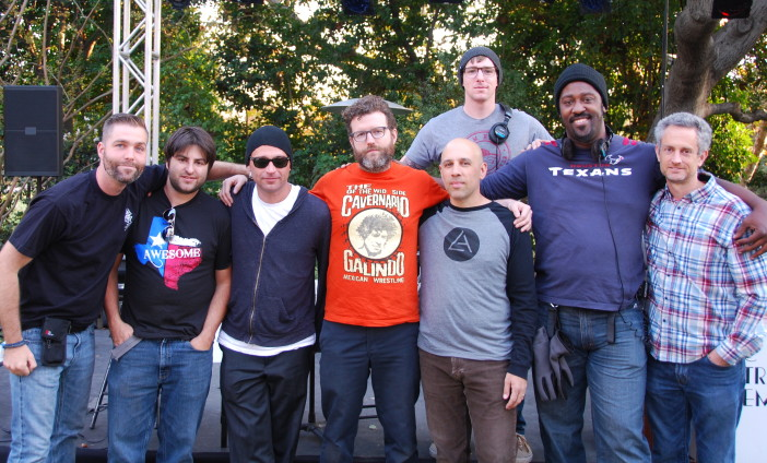 The sound crew (L-R): Tim O'Malley, David Franklin, Justin Ipock, Seth Gilbert, Kriky, Erin Paul, Mark Agostino, & Ethan Biggers (back row)